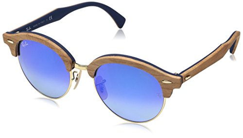 Ray-Ban Wood Unisex Non-Polarized Iridium Round Sunglasses, Gold, 51 - Ban Glasses Wood Ray