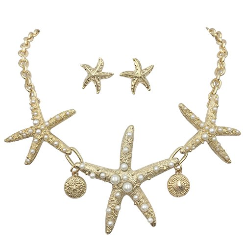 Gypsy Jewels 3 Starfish Simulated Pearl Textured Sealife Nautical Boutique Statement Necklace & Stud Earrings Set (Gold Tone)