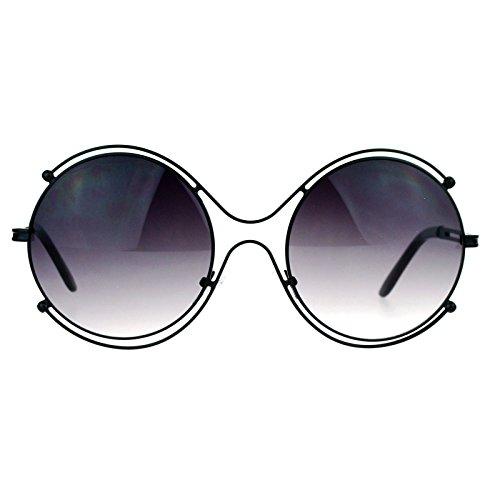 SA106 Retro Vintage Futurism Oversize Round Gradient Lens Sunglasses - Sunglasses Sketch