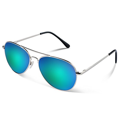 Duduma Lunettes de Soleil Aviateur Premium Uv400 de Mode Classique avec Les Lentilles Conçues pour Hommes et Femmes cadre en argent avec lentille vert bleu