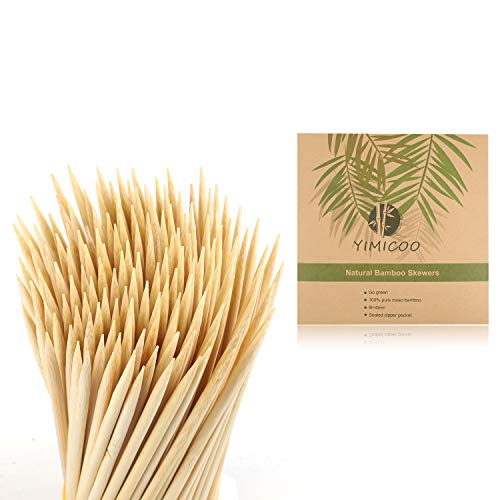 """YIMICOO 6"""" Bamboo Skewers(150PCS), 4MM Natural Fruit Skewers for BBQ,Grilling,Shish kabobs,Appetizer,Candy,Corn,Caramel Apples,Chocolate Fountain,Kitchen,Crafting and Party"""