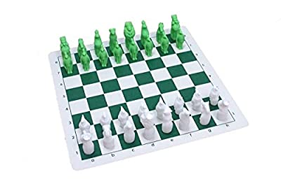 "Pasuk2788 New Vinyl Chess Board 14"" x 14"" with Plastic Animals Chess Set"