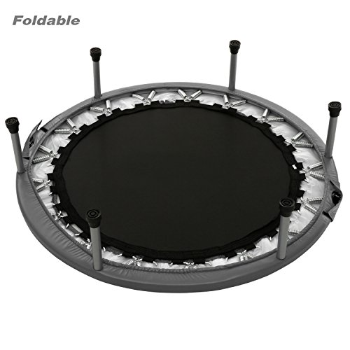 Heavy-duty Mini Folding Rebounder Trampoline Round Kids Exercise and Fitness Trampoline Max Load 220lbs (38'' & 40'') (Grey, 40 inch foldable)