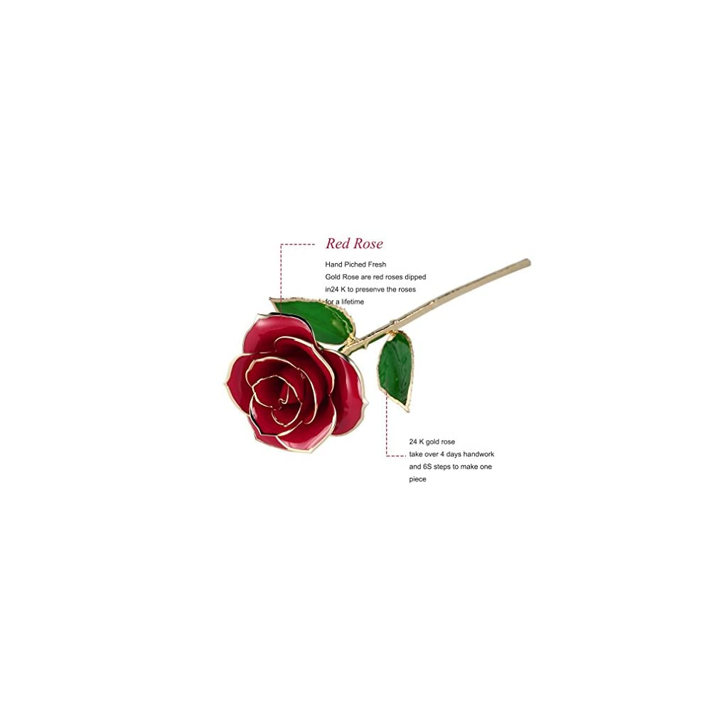 HOBFU-Red-Gold-Rose-for-Anniversary-GiftLong-Stem-24k-Gold-Rose-Flower-with-Display-Stand-in-Exquisite-Gift-BoxForever-Preserved-24K-Gold-Real-Rose-with-Real-Geen-LeafBest-Gift-for-Valentines-Day