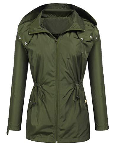 EASTHER Lightweight Waterproof Raincoat for Women Windbreaker Packable Outdoor Hooded Rain Jacket Army Green XXL