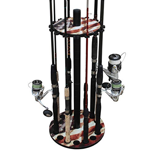 Rush Creek Creations 16 Round Fishing Rod/Pole Storage Floor Rack Americana Finish - Features Heavy Duty Steel Post - No Tool Assembly