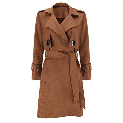 Overcoat Outwear Women's Down Jacket Parka Manadlian XL Windbreaker Brown Black Fashion Suede Y8Sqwc