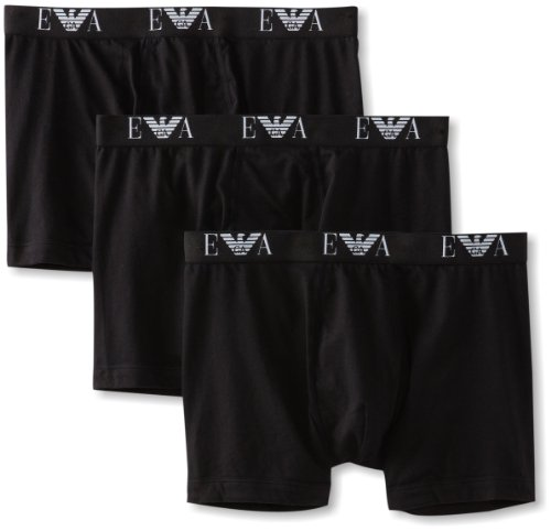 Emporio Armani Men's 3-Pack Cotton Boxer Briefs, Black, Large