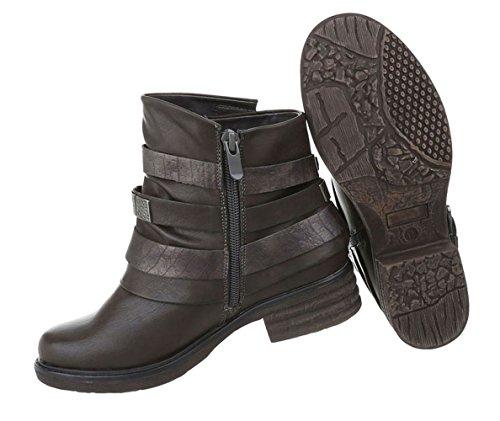 Bequeme Stiefelette Leder-Optik | kurze Boots | Kurzschaft Stiefelette | Knöchelhohe Stiefel | Western Übergangsstiefel | Blockabsatz Stiefelette | Schuhcity24 Braun