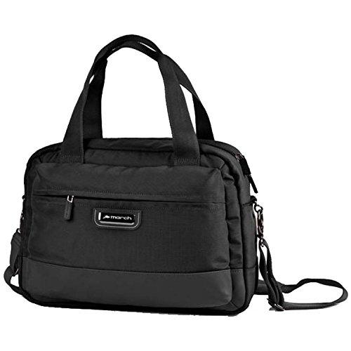 MARCH 15 Business Messenger Bags Rolling Schultertasche 0,7 kg Schwarz 38x27x15cm NYLON Bordgepäck Kabinen Handgepäck Umhänge Tasche Bowatex