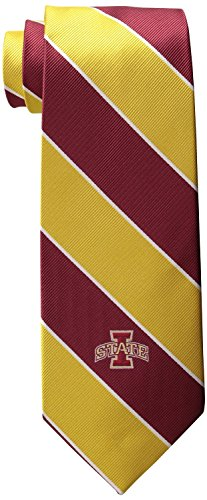 NCAA Men's Iowa State Cyclones State Traditional Striped Necktie, Cardinal/Gold