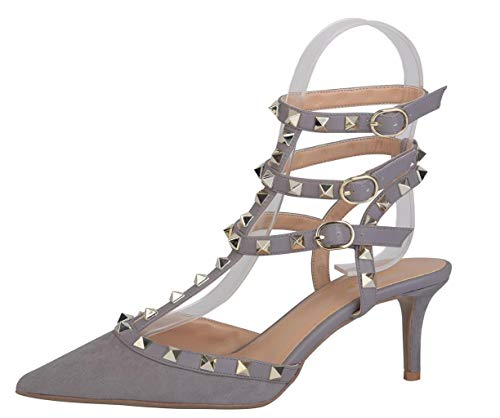 WSKEISP Women's Studded Strappy Sandals Pointed Toe Slingback Stud Kitten Heels T-Strap Shoes Grey Faux Suede Size 9.5 ()