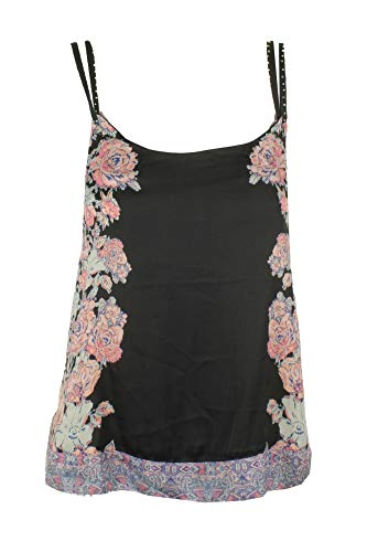 Free People Womens Embellished Double-Strap Camisole Top Black S