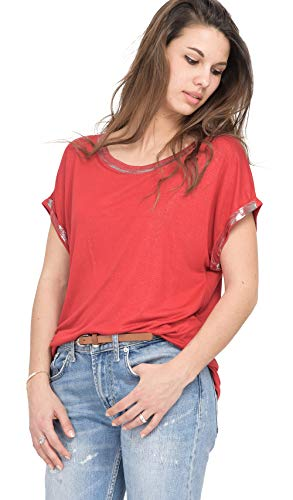 Femme T Col Rond Rouge shirt Vidal Enduction Argentée Lauren x1qfBwaa