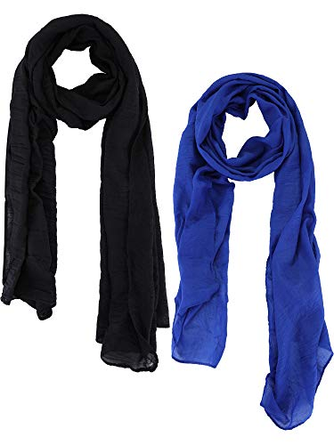 Blulu 2 Pieces Women Cotton Scarf Lady Light Soft Solid Scarf Wrap Large Sheer Shawl Wraps for Adult Kids Using (Black, Royal Blue)