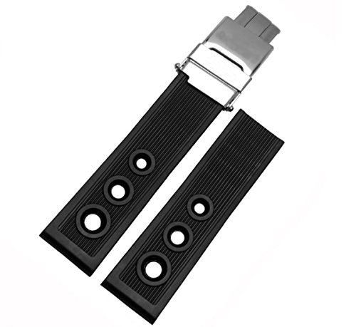 22mm Black Silicone Watch Band Rubber Strap Buckle Accessories for Breitling Superocean Heritage Avenger