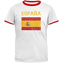 World Cup Distressed Flag Espana White/Red Men's Ringer T-Shirt
