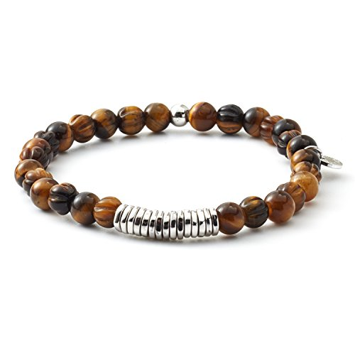 Sterling Tigers Eye Bead Bracelet (Tateossian Mens Disc Bead with Round Tiger Eye Bracelet -)