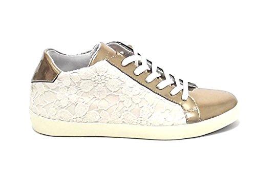 Leather Crown sneaker donna KL CONE, pelle oro E7102