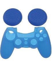 كوفر حماية سيليكون لوحدات التحكم الانالوج الخاصة بمشغل العاب الفيديو Playstation 4 من سوني، مرفق بكوفرات اخرى لعصي التحكم