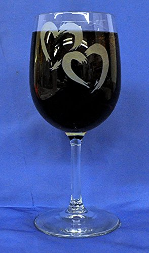 Wedding, Anniversary or Valentines Intertwining Hearts Custom Etched on 13oz White Wine Glasses Set of 2