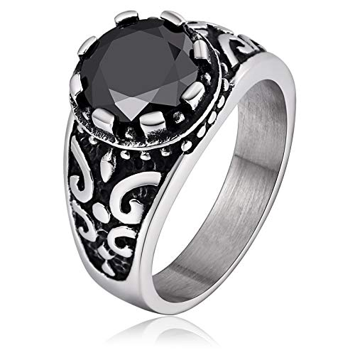 ANAZOZ Stainless Steel Black Gemstone Square Black Punk Chic Mens Personalized Rings Size ()