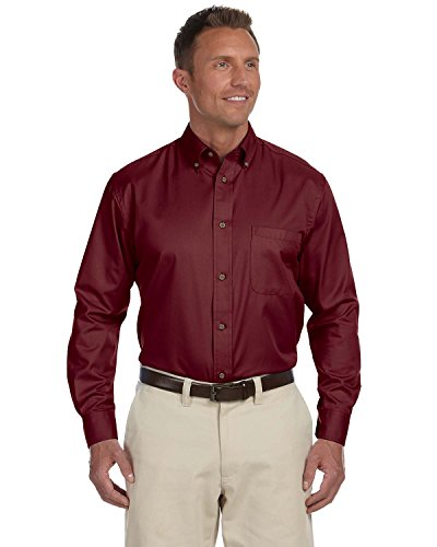 Harriton Mens Long-Sleeve Twill Shirt with Stain-Release (M500) -WINE -M