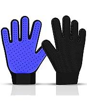 Ortz Pet Hair Remover Gloves - Gentle Deshedding Brush Glove for Short and Large Dog Cat and Horse Grooming - Enhanced Massage Mitt Five Finger Design 1 Pack