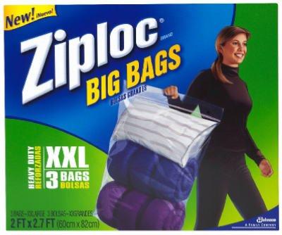 Ziploc Jumbo Big Bags 3 ea (Large Clear Plastic Bags)