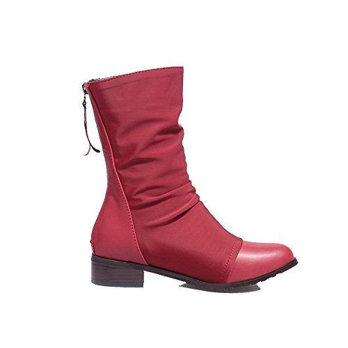 AllhqFashion Womens Round Closed Toe Low-Top Low-Heels Solid Blend Materials Boots Red nzZbNn