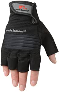 Wells Lamont 831M Mens Fingerless High Dexterity Glove, Blister Armor Synthetic Leather Liquicell, Medium, Colors May Vary