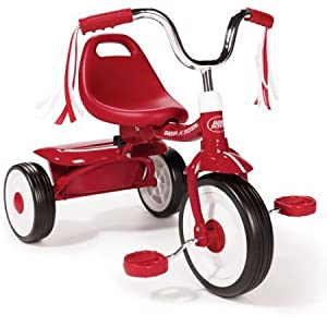 Radio Flyer Kids Red Folding Bike Sports Pedal Push Trike Tricycle for Toddler Boys