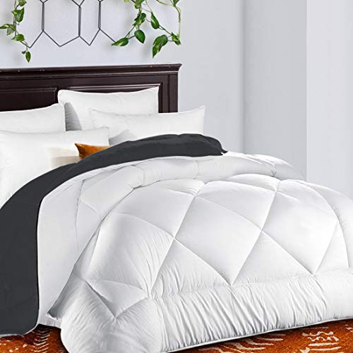 TEKAMON All Season Reversible Twin Comforter Soft Quilted Down Alternative Duvet Insert with Corner Tabs Summer Cooling 2100 Series, Luxury Fluffy Hotel Collection, White/Gray, 64 x 88 inches ()
