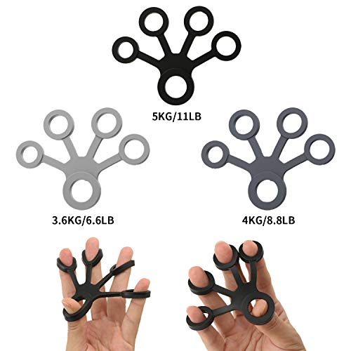Youth-Sports New Finger Stretcher Hand Extensor Exerciser Finger Resistance Bands Finger Strength Trainer Gripper Set for Arthritis Carpal Tunnel Exercise Guitar、Piano and Rock Climbing 3pcs