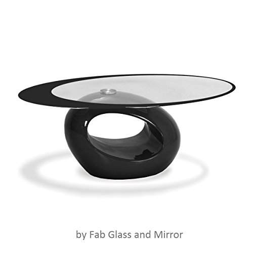 Fab Glass and Mirror CTB-FAB3000 Black Glass Coffee Table 25.5 X 43.5
