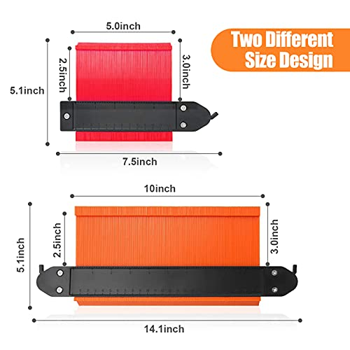 Contour Gauge Kits with Locks - 10 & 5 Inch Widen Irregular Shape Duplication Gage Tool Precisely Widen Duplication Gauge Tool for Copy Irregular Shape apply for Corners Wood Templates Tiles Laminate