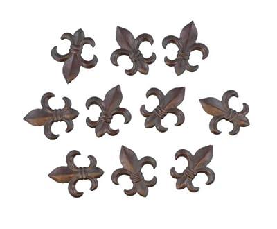 "10 Pc Set - 3"" Small Rustic Metal Fleur De Lis Wall Plaques / Ornaments - Creole Tuscan Saints Decor"