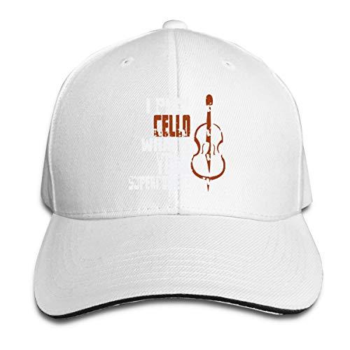 SFT Unisex Cello Cellist Fashion Peaked Cap Baseball Cap for Travel/Sports White