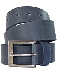 Men's Rustic Thick Leather Belt Handmade by Slate Blue (Size 34)