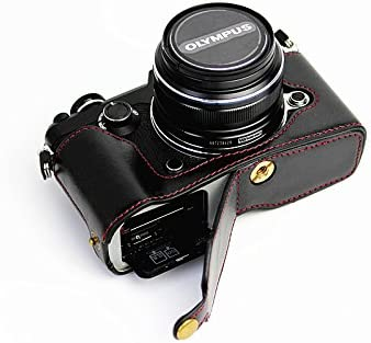 Bottom Opening Version Protective PU Leather Half Camera Case Bag Cover with Tripod Design for Olympus PEN-F Camera with PU Leather Hand Strap Brown