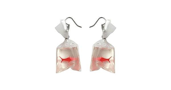 Amazon.com: Pendientes para mujer, diseño de pez dorado con ...