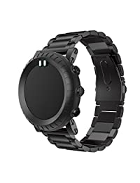 For Suunto Core, Kingfansion Stainless Steel Watch Band Replacement Strap (Black)