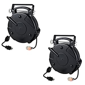 Retractable Extension Cord Reel >> Case of 2 Heavy Duty 12/3 45 Foot 20 Amp Single Tap ...