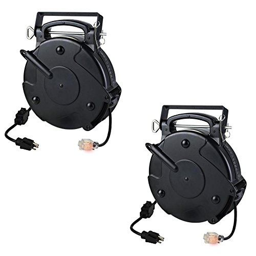 Case of 2 Heavy Duty 12/3 45 Foot 20 Amp Single Tap Industrial Retractable Extension Cord Reel 8645TFI by Pro-Reel (Image #3)