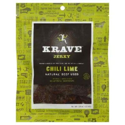 Krave All Natural Chili Lime Beef Jerky, 3.25 Ounce -- 8 per case.