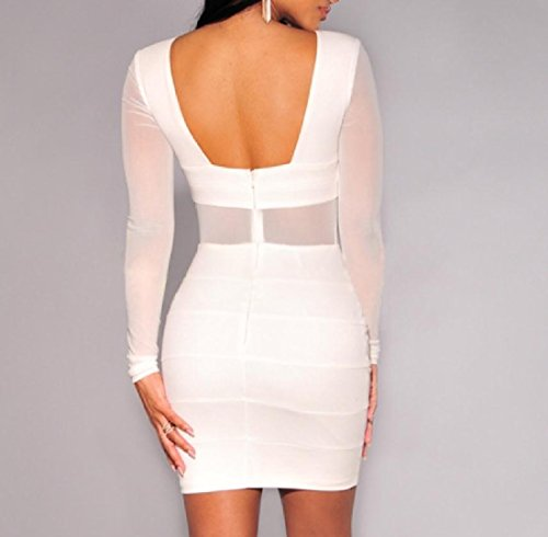 Open Yarn Fitting White Net Bodycon Women Back Sexy Solid Slim Coolred Dress Mini 5fwOxq8Iq