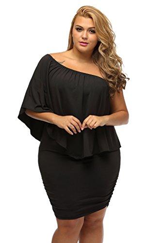 Bodycon Black Women Dress Mini Off Sidefeel Ruffles Shoulder awH0zU0Iq