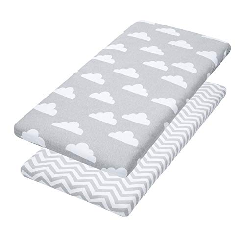 Bassinet Sheets, 2 Pack Cloud & Chevron Fitted Soft Jersey Cotton Cradle Bedding