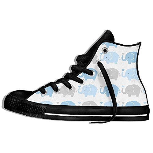 Classic High Top Sneakers Canvas Zapatos Antideslizante Baby Elephant Casual Walking Para Hombres Mujeres Negro