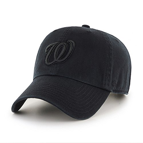 '47 Washington Nationals Hat MLB Authentic Brand Clean Up Adjustable Strapback Black Baseball Cap Adult One Size Men & Women 100% Cotton